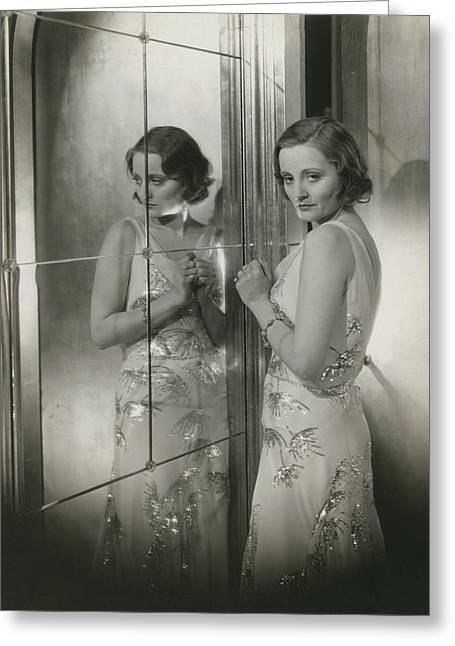 Tallulah Bankhead In A Chiffon Dress Greeting Card by Cecil Beaton