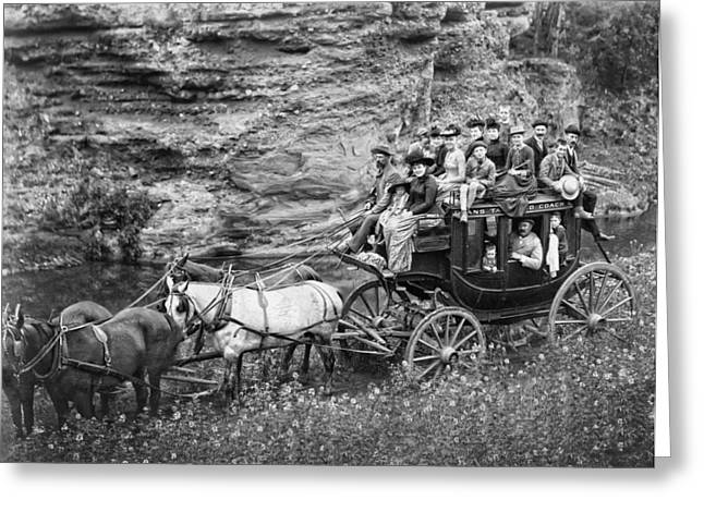 Tallyho Stagecoach Party C. 1889 Greeting Card