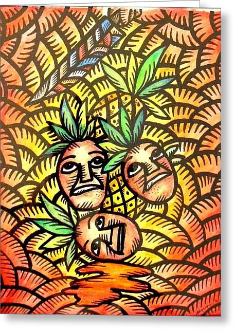 Talupan Ang Pinya Peel The Pineapples Greeting Card