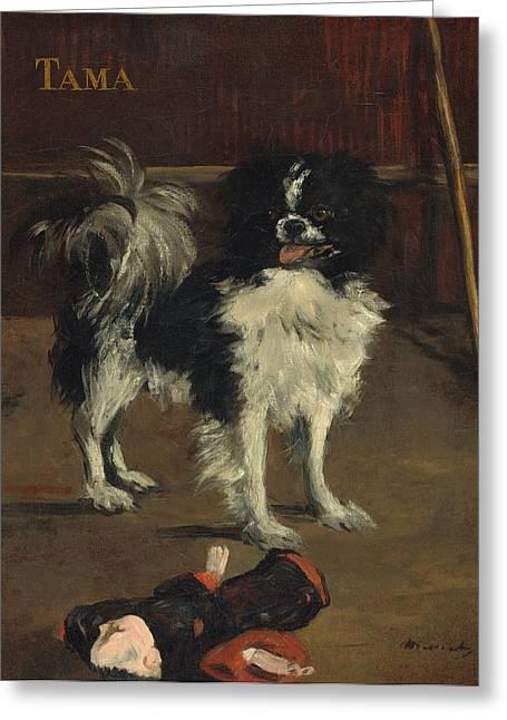 Tama - The Japanese Dog Greeting Card by Edouard Manet
