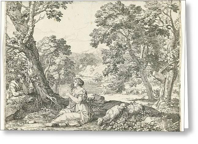 Tambourine Player, Franciscus De Neve, Giovanni Giacomo Greeting Card