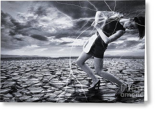 Greeting Card featuring the digital art Taming The Lightning by Evgeniy Lankin