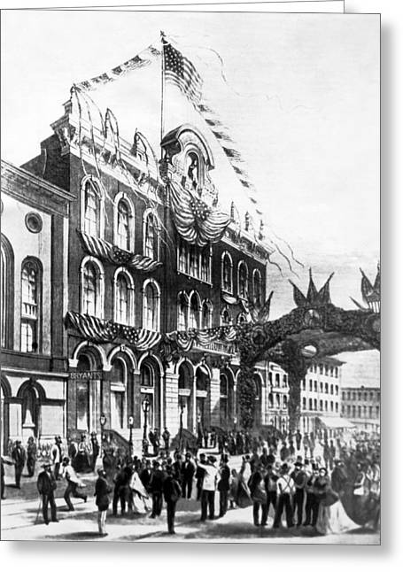 Tammany Hall In 1868 Greeting Card by Underwood Archives
