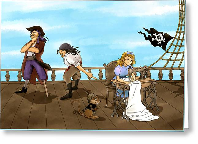 Greeting Card featuring the painting Tammy And The Pirates by Reynold Jay