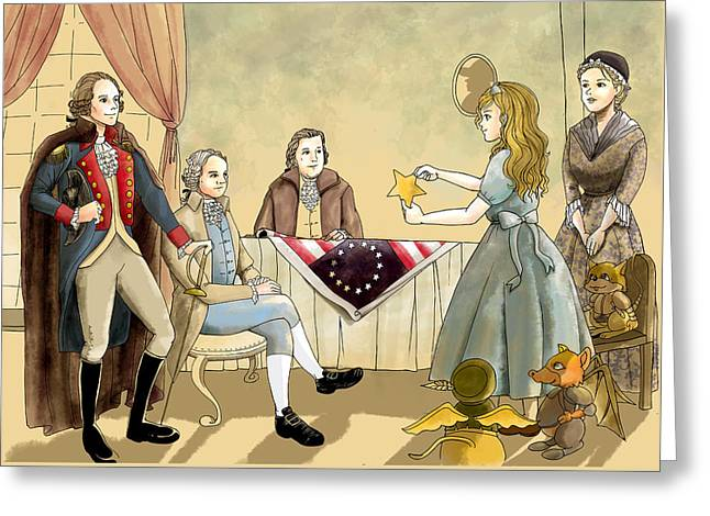Greeting Card featuring the painting Tammy Meets Betsy Ross And George Washington by Reynold Jay