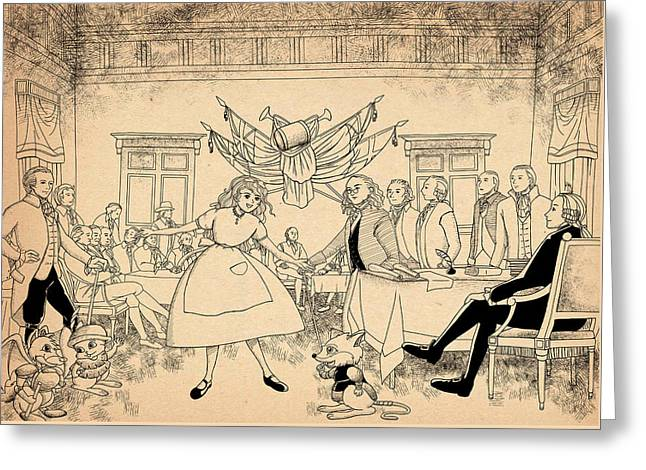 Greeting Card featuring the drawing Tammy In Indpendence Hall by Reynold Jay