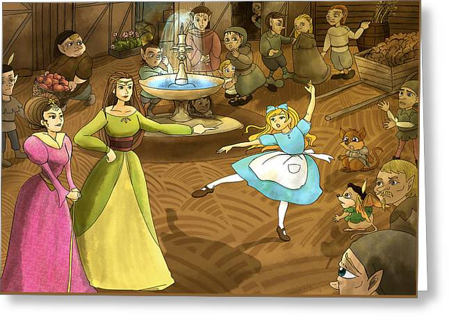 Greeting Card featuring the painting Tammy In The Town Square by Reynold Jay