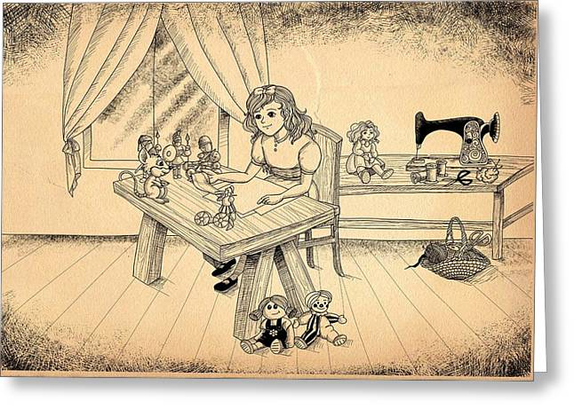 Greeting Card featuring the drawing Tammy Meets Alfred The Mouse by Reynold Jay