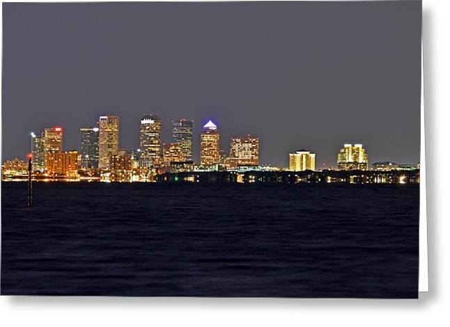 Greeting Card featuring the photograph Tampa City Skyline At Night 7 November 2012 by Jeff at JSJ Photography