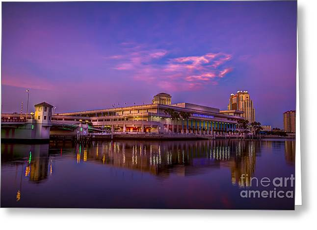 Tampa Convention Center At Dusk Greeting Card by Marvin Spates