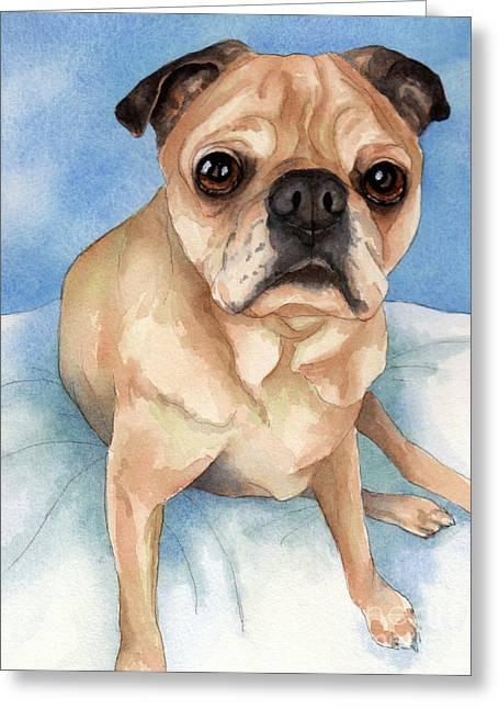 Tan And Black Pug Dog Greeting Card by Cherilynn Wood
