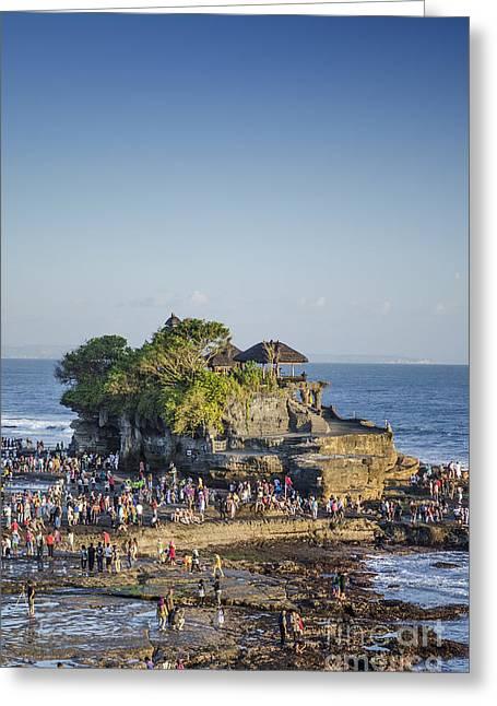Tanah Lot Temple In Bali Indonesia Coast Greeting Card