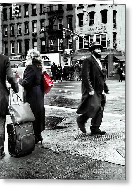 Tangents - A Walk In The City Greeting Card by Miriam Danar