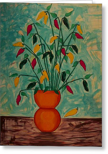 Tangerine Peppers Greeting Card by Phoenix The Moody Artist