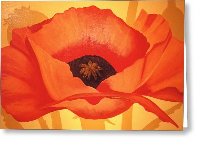 Tangerine Poppy Greeting Card by Linda Hiller