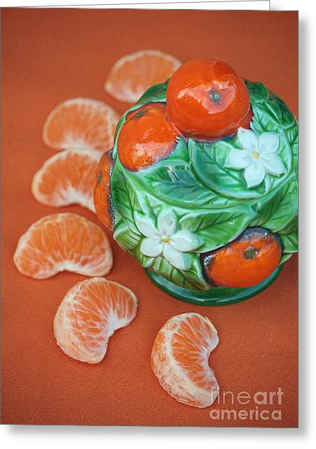Tangerine Slices And Ceramics Greeting Card by Luv Photography