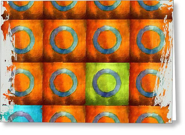 Tangerine Squares Greeting Card by Bonnie Bruno