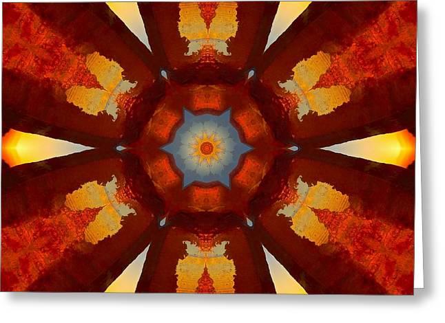Tangerine Sunset Crystal Mandala Greeting Card