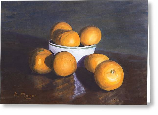 Tangerines Greeting Card by Alan Mager