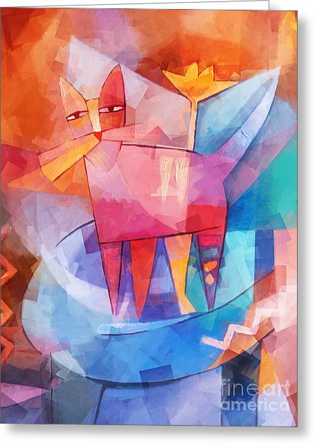 Tango Cat Cubic Greeting Card by Lutz Baar