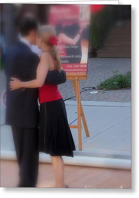 Tango Dancing On The Street Greeting Card by Lingfai Leung