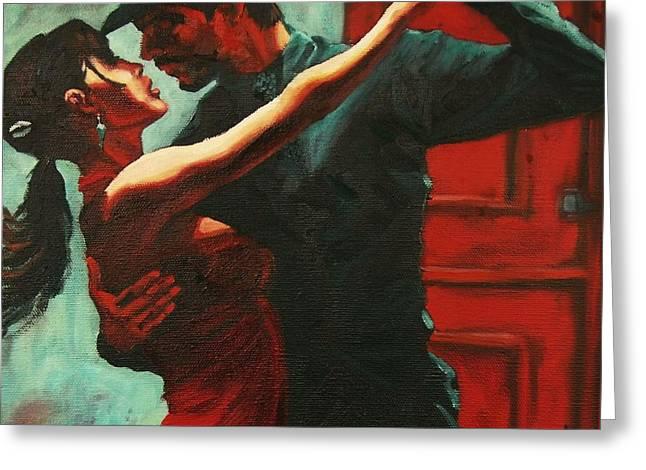 Tango Intensity Greeting Card by Janet McDonald