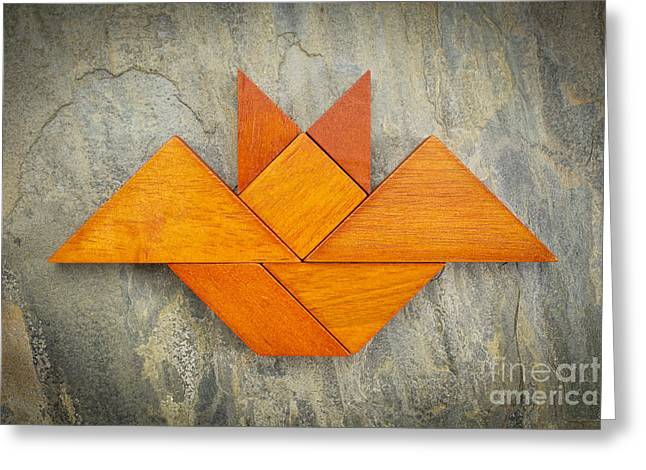 Tangram Bat Abstract Greeting Card