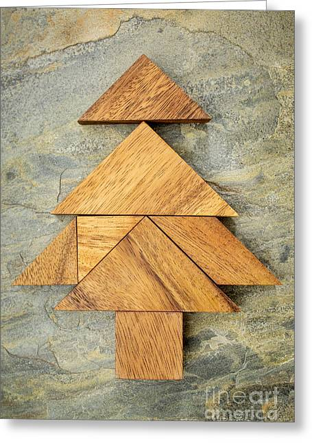 tangram Christmas tree Greeting Card