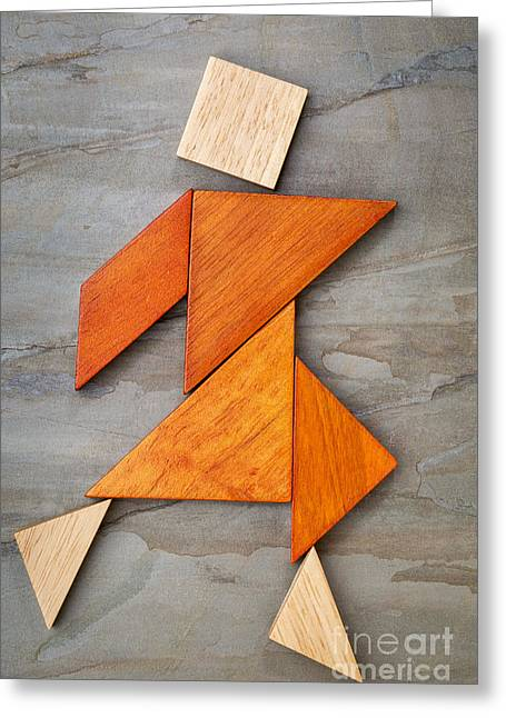 Tangram Dancing Figure Greeting Card
