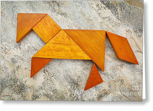 Tangram Horse Abstract Greeting Card