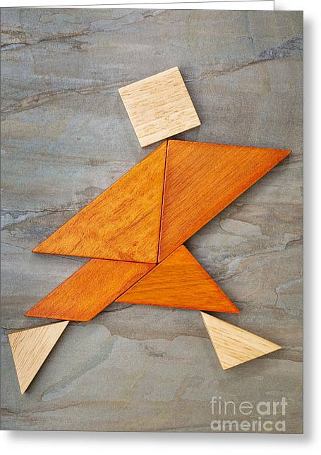 Tangram Running Figure Greeting Card