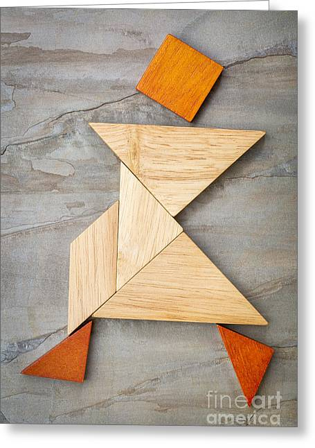 Tangram Walking Figure Greeting Card
