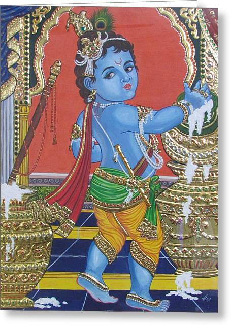 Tanjore Baby Krishna  Greeting Card