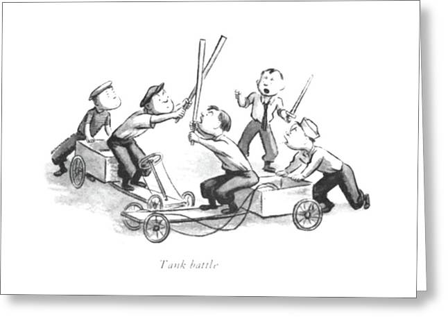 Tank Battle Greeting Card by William Steig