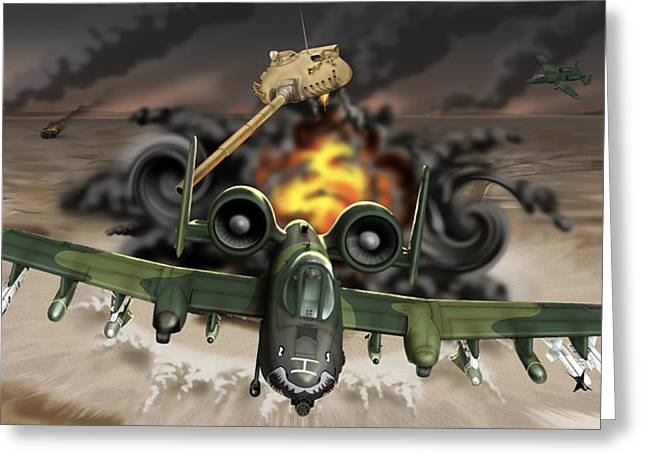 Tank Plinking With The A-10 Greeting Card by Barry Munden