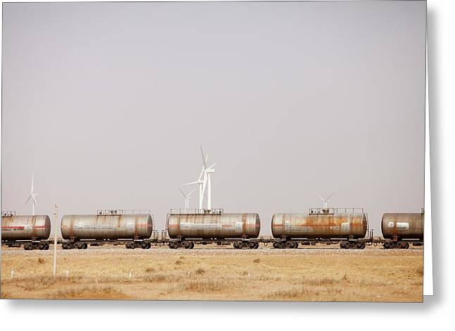 Tanker Cars And Wind Farm Greeting Card