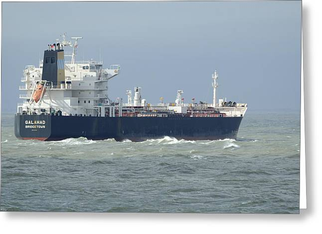 Tanker Heading At Sea Greeting Card