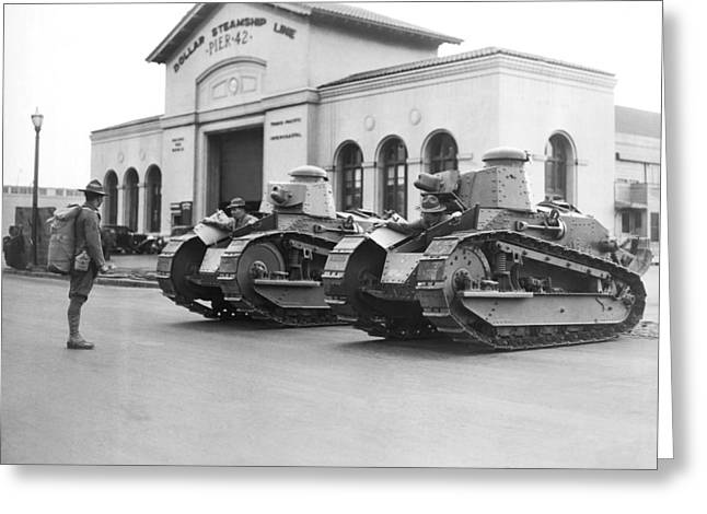 Tanks For Waterfront Strike Greeting Card by Underwood Archives