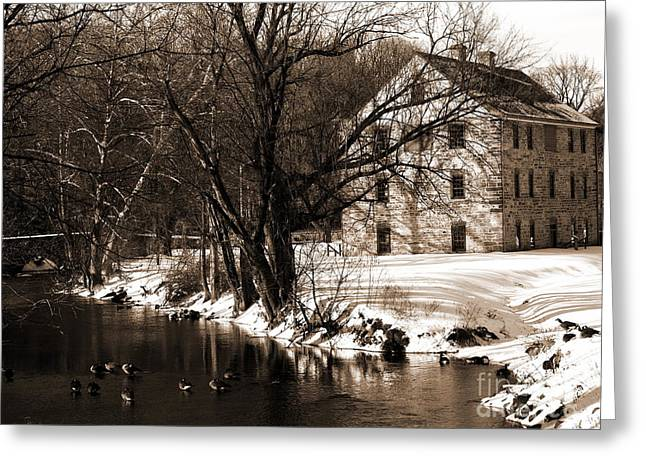 Tannery - Sepia - Colonial Industrial Quarter - Bethlehem Pa Greeting Card