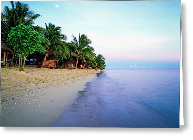 Tanu S Beach Fales  Savaii Island, Samoa Greeting Card by David Kirkland