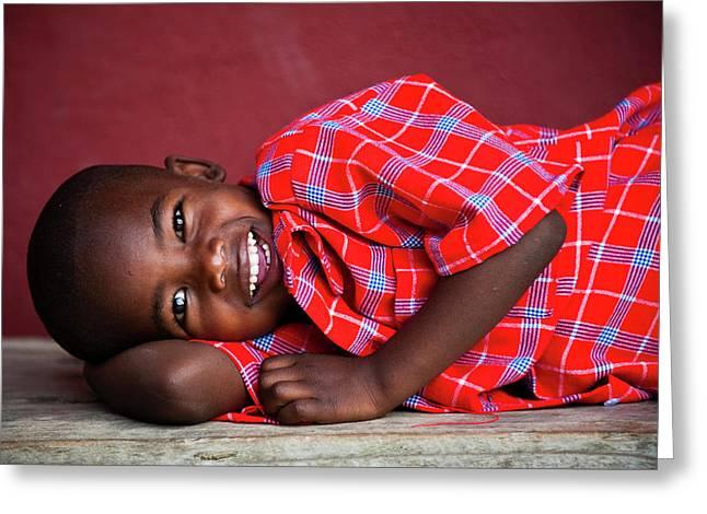 Tanzanian Boy Smiling Greeting Card by Matthew Oldfield