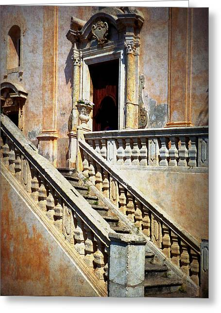 Taormina Staircase Greeting Card by Carla Parris