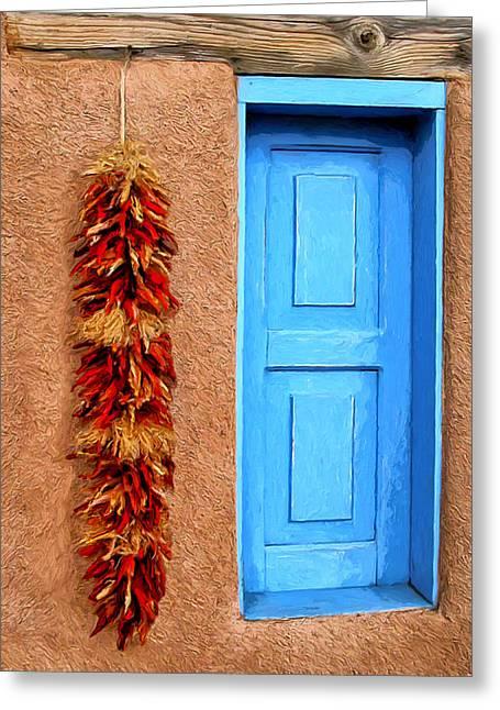Taos Blue Door Greeting Card