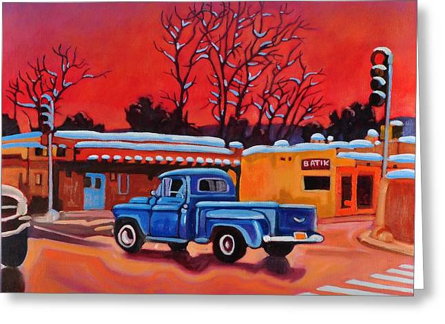 Greeting Card featuring the painting Taos Blue Truck At Dusk by Art West