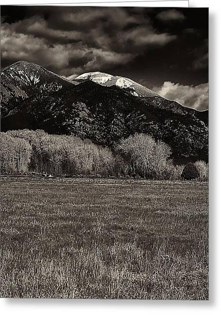 Taos In The Fall B_w Greeting Card