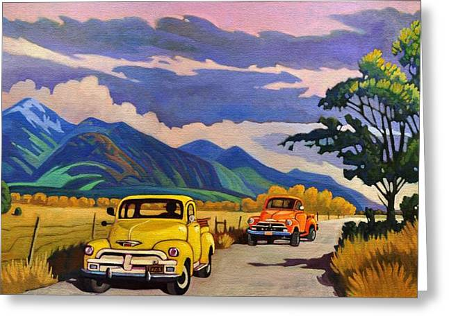Taos Joy Ride With Yellow And Orange Trucks Greeting Card