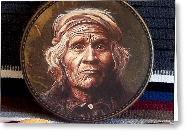 Taos Man Drum Greeting Card by Stu Braks