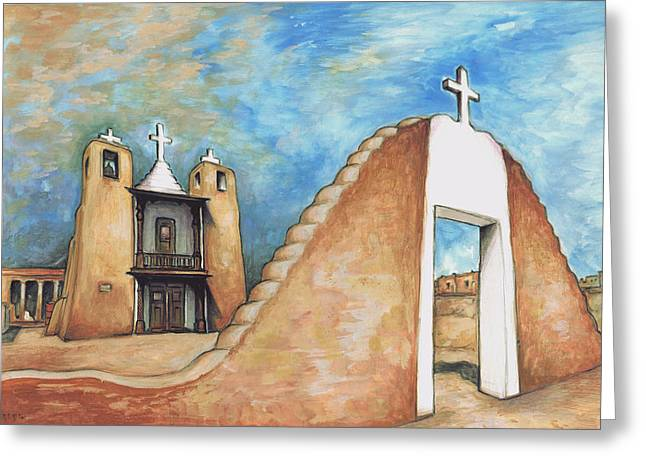 Taos Pueblo New Mexico - Watercolor Art Painting Greeting Card