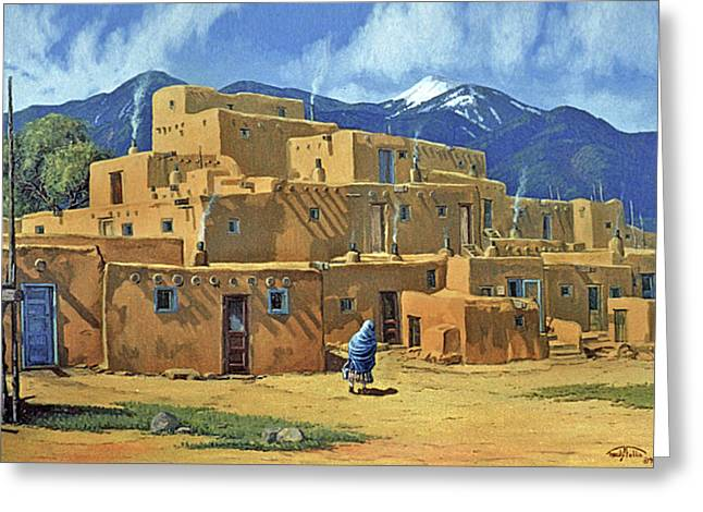 Taos Pueblo Greeting Card by Randy Follis