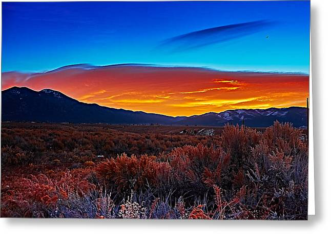 Taos Sunrise X Greeting Card